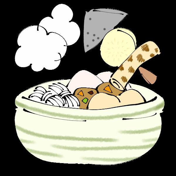 串とお鍋のおでんのイラスト かわいいフリー素材が無料のイラストレイン