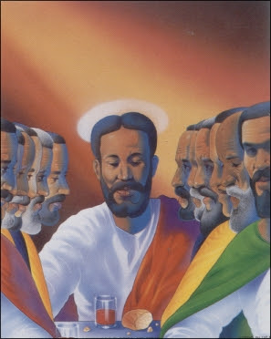 Black Jesus Last Supper Mini Art Print Size 4x5 Inches 56016