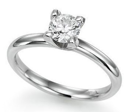 Diamond Solitaire Ring 0.45Ct White Gold Anniversary Gift
