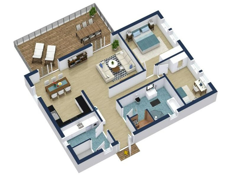 Home Design Software RoomSketcher - Apartment Designs Shown With Rendered 3D Floor Plans