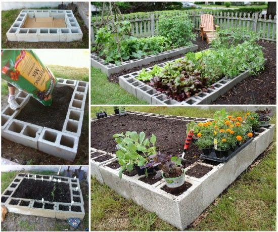 30+ Creative DIY Raised Garden Bed Ideas And Projects --> Cinder Block Raised Garden Bed