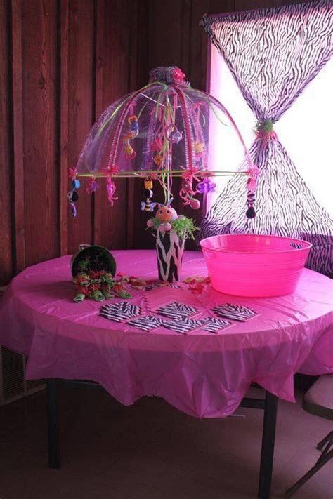 Zebra print baby shower. Umbrella decorated with baby