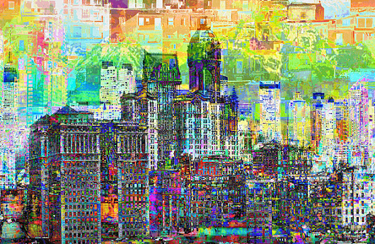 Cityscape Art City Optimist by Mary Clanahan