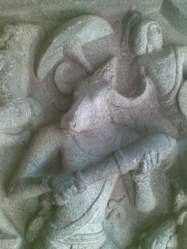Mahishasura in close-up. Mahishasuramardini Mandapam, Mamallapuram