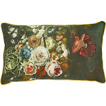 """Creative Co-Op Floral Embroidered Accent Throw Pillow - 24"""" x 14"""" Rectangle"""