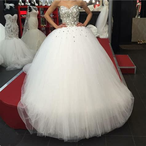 Tulle Ball Gown Wedding Dress 2018 Luxury Crystal Beaded