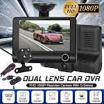 SMILEQ 4'' HD 1080P 3 Lens Car DVR Dash Cam Vehicle Video Recorder Rearview Camera 170°