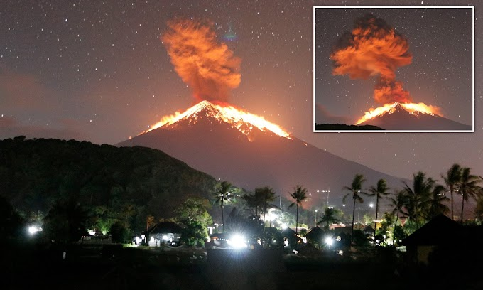 Bali's Mount Agung erupts and spews lava as volcanic ash spreads across the sky forcing all flights in and out of the island to be cancelled