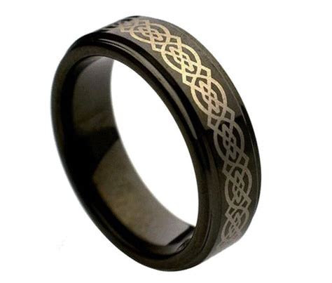 7mm Men's or Ladies Celtic Knot Black Tungsten carbide
