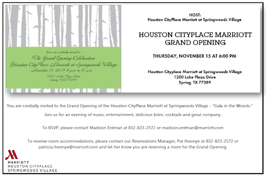 Join O&GA Vendor/Supplier Member Houston CityPlace Marriott for their Grand Opening November 15th!