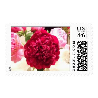 Red Peony Wedding Stamps stamp