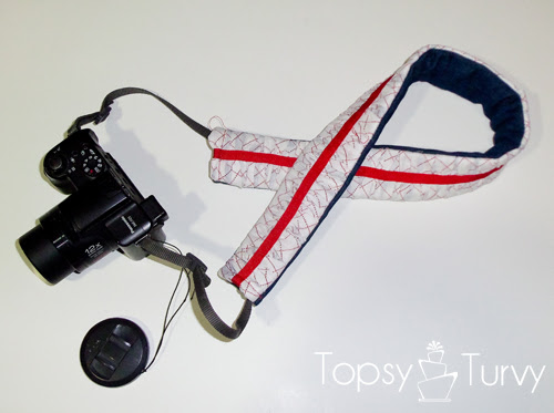 make your own ruffled camera strap finished