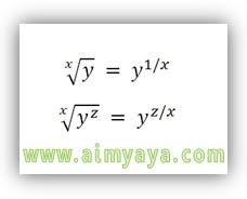 Gambar:  Rumus dasar perhitungan akar kwadrat/pangkat dari sebuah bilangan