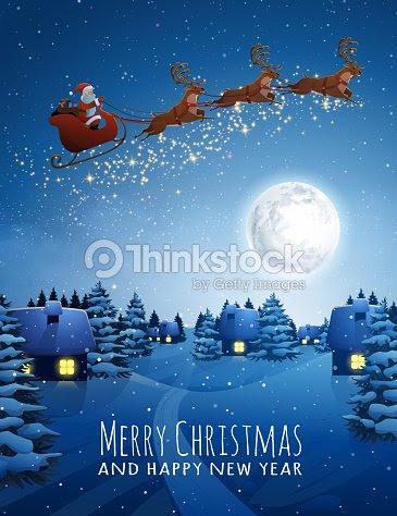 トナカイと鹿空飛ぶそりでサンタ クロースクリスマス風景雪夜と大きな月