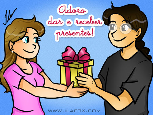 eu adoro dar e receber presentes, ilustração by Ila Fox
