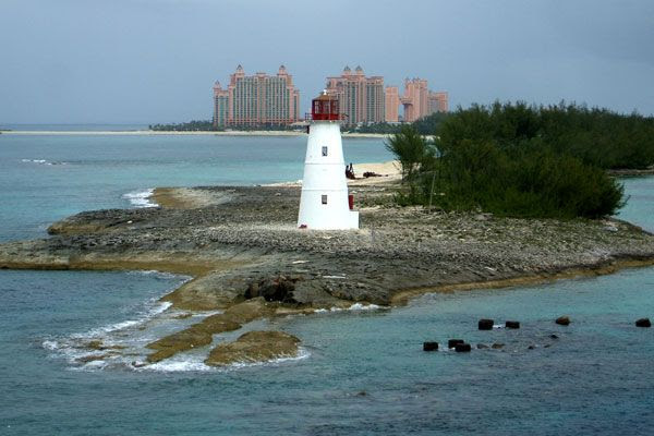 A snapshot of a lighthouse with the Bahamas' Atlantis Resort in the background...on August 17, 2008.