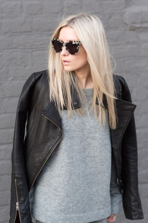 Le Fashion Blog Blogger Style Tortoise Cat Eye Sunglasses Moto Jacket Slouchy Grey Knit Via FIGTNY