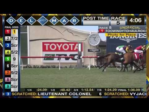 Horse Racing Toowindytohaulrox Wins Del Mar Wickerr Stakes