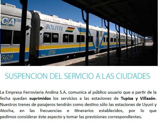 Suspensión del tren desde Villazón y Tupiza