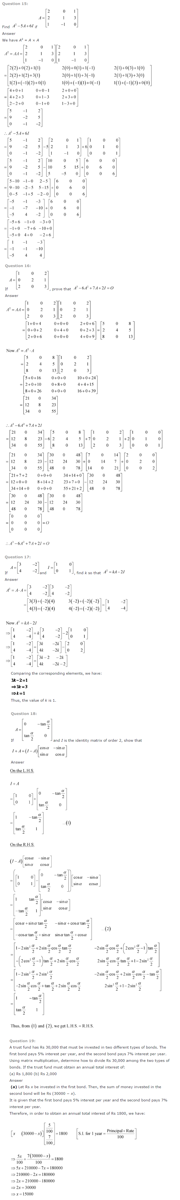NCERT Solutions for Class 12 Maths Chapter 3 Matrices ex 3.5