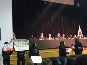 Students speaking during the Boston Public Schools budget meeting on March 7 at English High School. Gazette Photo by Josie Grove