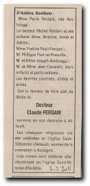 notice décès de Claude Ferdani et remerciements