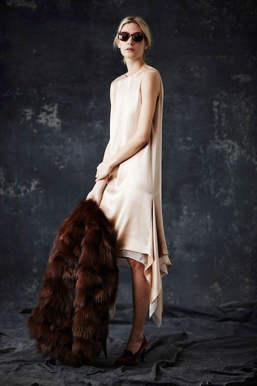 LE FASHION BLOG JENNI KAYNE FW 2014 COLLECTION 1930S MODERN ENGLISH COUNTRYSIDE BURGUNDY SUNGLASSES PALE NUDE BLUSH SILK DROP HEM DRESS DRAPE SIDE BROWN FUR COAT HEELED LOAFERS EFFORTLESS CHIGNON LOW BUN NATURAL BEAUTY 3 photo LEFASHIONBLOGJENNIKAYNEFW20143.jpg