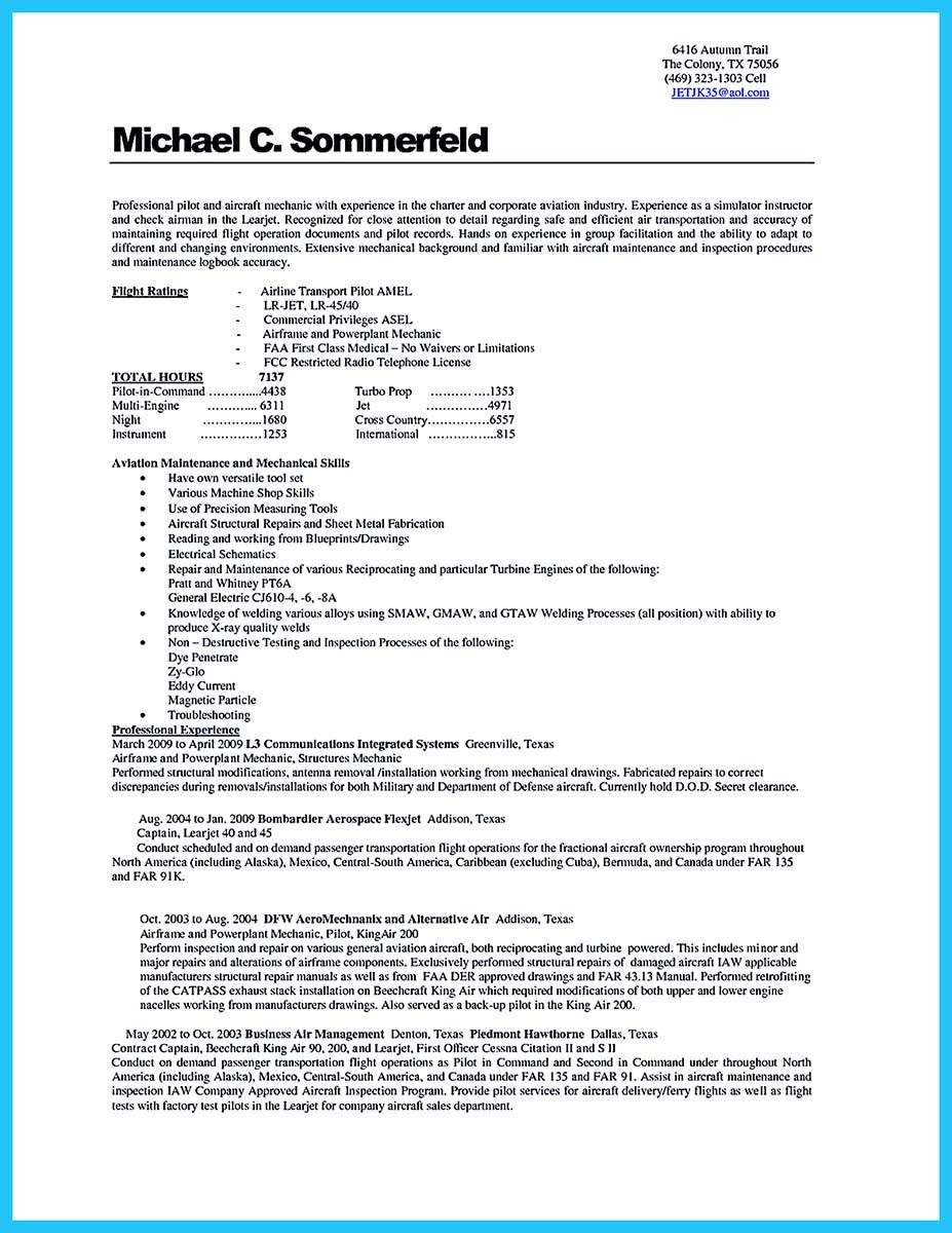 aviation resume cover letter