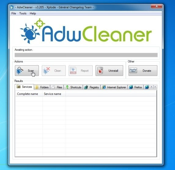 AdwCleaner scan button