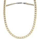Powerful Silver & Gold Titanium Magnetic Therapy Necklace