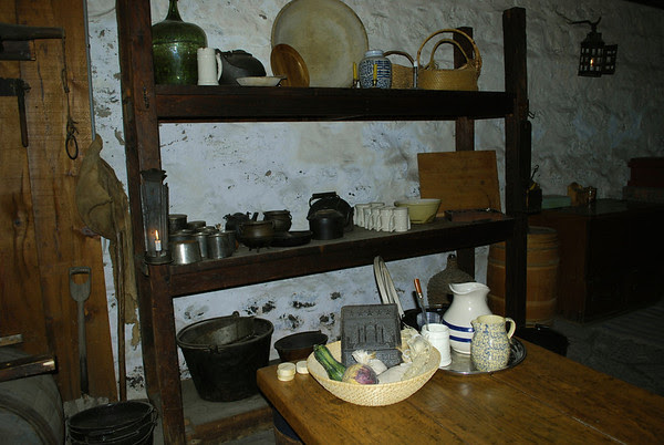 Artifacts in the kitchen at Old Fort Erie.