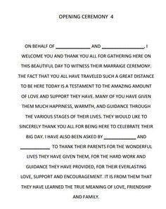 Wedding Officiant Script =  1  = Wedding Ceremony Script