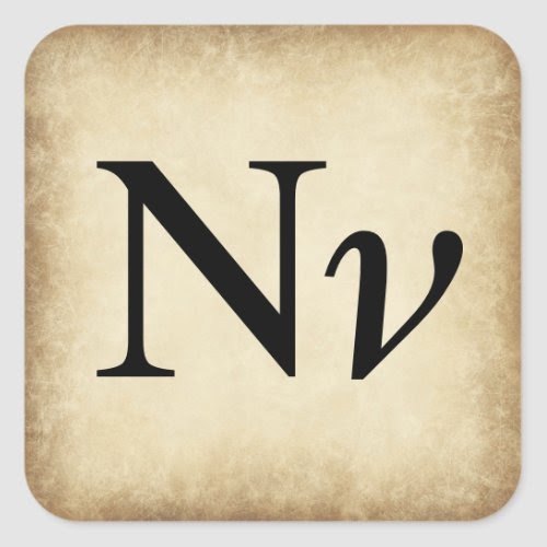 Greek Alphabet Letter Nu Square Sticker