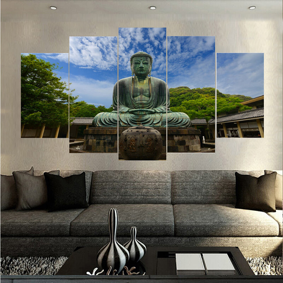 For Living Room Modern Hd Printed Pictures 5 Piecepcs Big Stone Buddha Wall Art Home Decor Framework Canvas Painting Poster