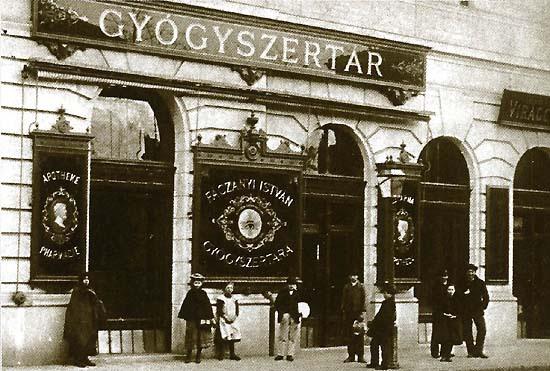 Budapest, Kőbánya, Fáczányi pharmacy around 1910