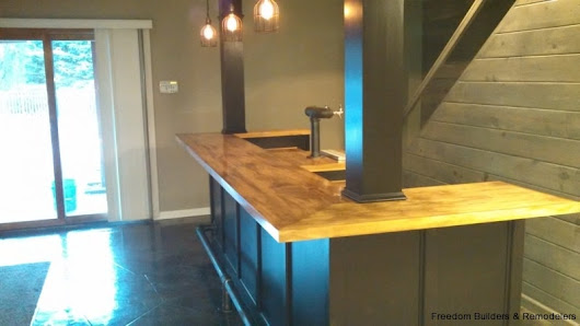 Basement Project With Wet Bar | Freedom Builders & Remodelers