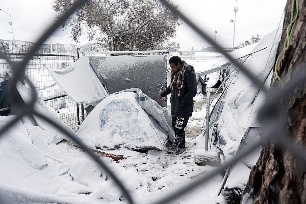 GREECE-EUROPE-MIGRANTS-WEATHER-SNOW