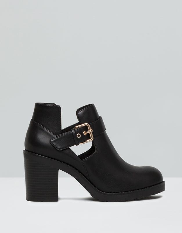Pull&Bear - mujer - zapatos mujer - botín tacón calado - negro - 15260011-I2015