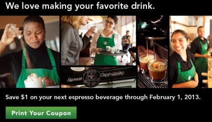 starbuckscoupon $1.00 off Starbucks Espresso Beverage Coupon!!