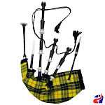 Scottish Great Highland Bagpipe Macleod of Lewis Tartan Black Finish Silver Mounts
