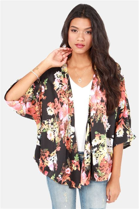 cute floral print top kimono top black top