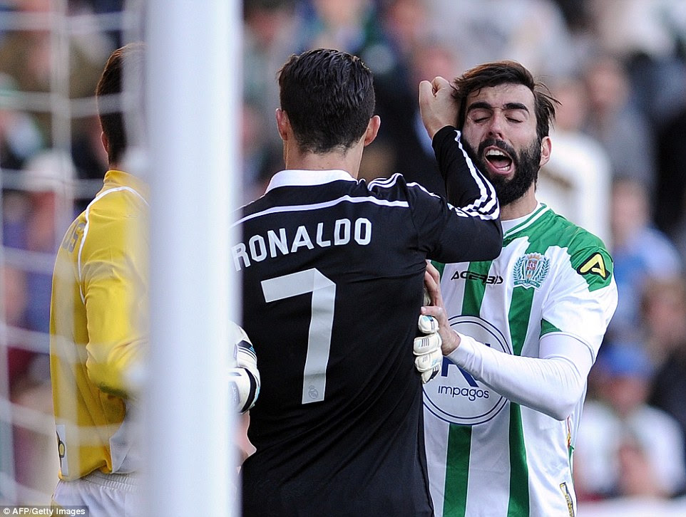 Cristiano Ronaldo lashes out at Cordoba's Jose Angel Crespo as the frustration begins to boil over