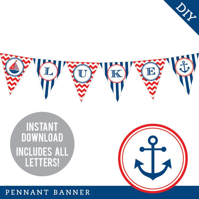 INSTANT DOWNLOAD Nautical Party - DIY printable pennant banner ...
