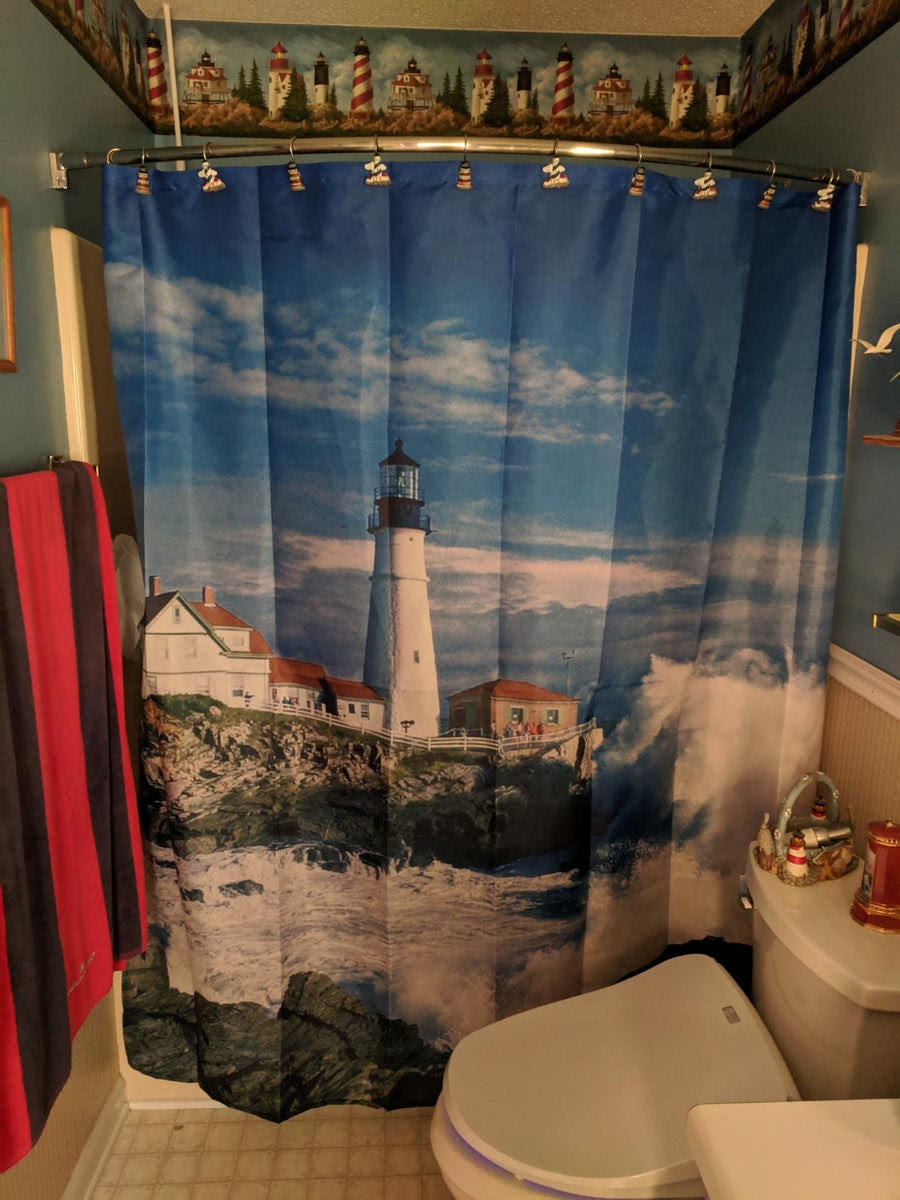 Coastal Nautical Lighthouse Shower Curtain   GoJeek