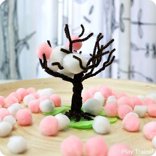 Cherry Blossom Wiosna Pom Pom Drzewa: fine aktywność ruchowa i rzemiosła z gry pociągi!