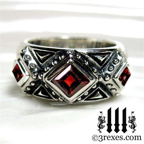 3 Kings Mens Wedding Ring Medieval Band Red Garnet