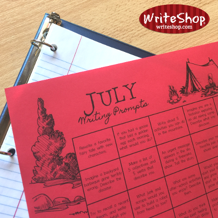 July writing prompt calendar
