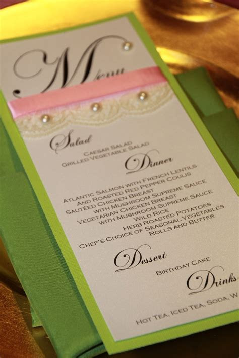 Pink and green menu card with lace and pearls for 40th