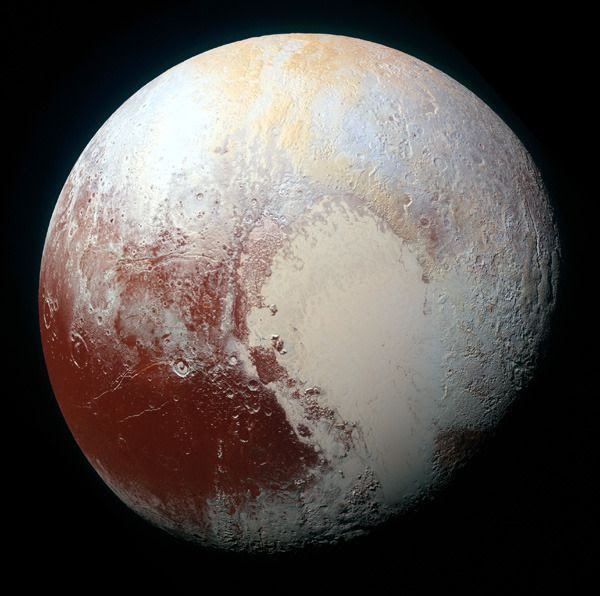 A high-resolution, enhanced-color global image of Pluto that was taken by NASA's New Horizons spacecraft on July 14, 2015.