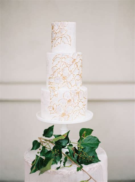 Modern White and Gold Wedding Cake   Elizabeth Anne